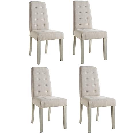 Abitti Pack 4 sillas para Comedor o salón tapizadas en Tela ...