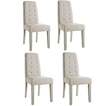 Abitti Pack 4 sillas para Comedor o salón tapizadas en Tela Arena y ...