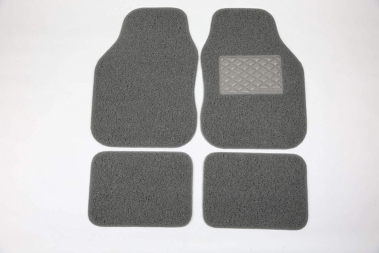 Front Set 2-Piece ,Opt1-BLACK,Opt3 Car Mats Heavy Duty Universal Spaghetti Coiled PVC Vinyl Loop Gecko Backing Anti-Slip Universal Car Floor Mat Black /& Grey, Right Side 1pc