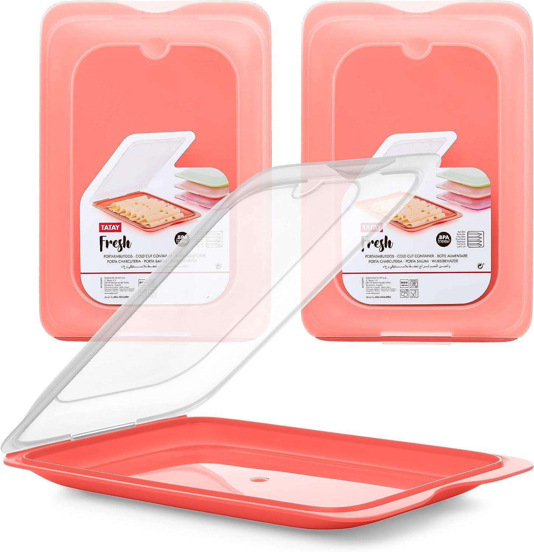 Contenitore Porta Salumi//Insaccato Tre Unit/à di Colore Arancione TATAY Sistema FRESH Conservazione Ottimale delle Fette nel Frigo Misure 17 x 3.2 x 25.2 cm