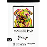 """Bianyo Bleedproof Marker Paper Pad, A4(8.27""""X11.69""""), 50 Sheets, 18 LB / 70 GSM, Glue-Bound, 100% Cotton, White, Ideal for Us"""