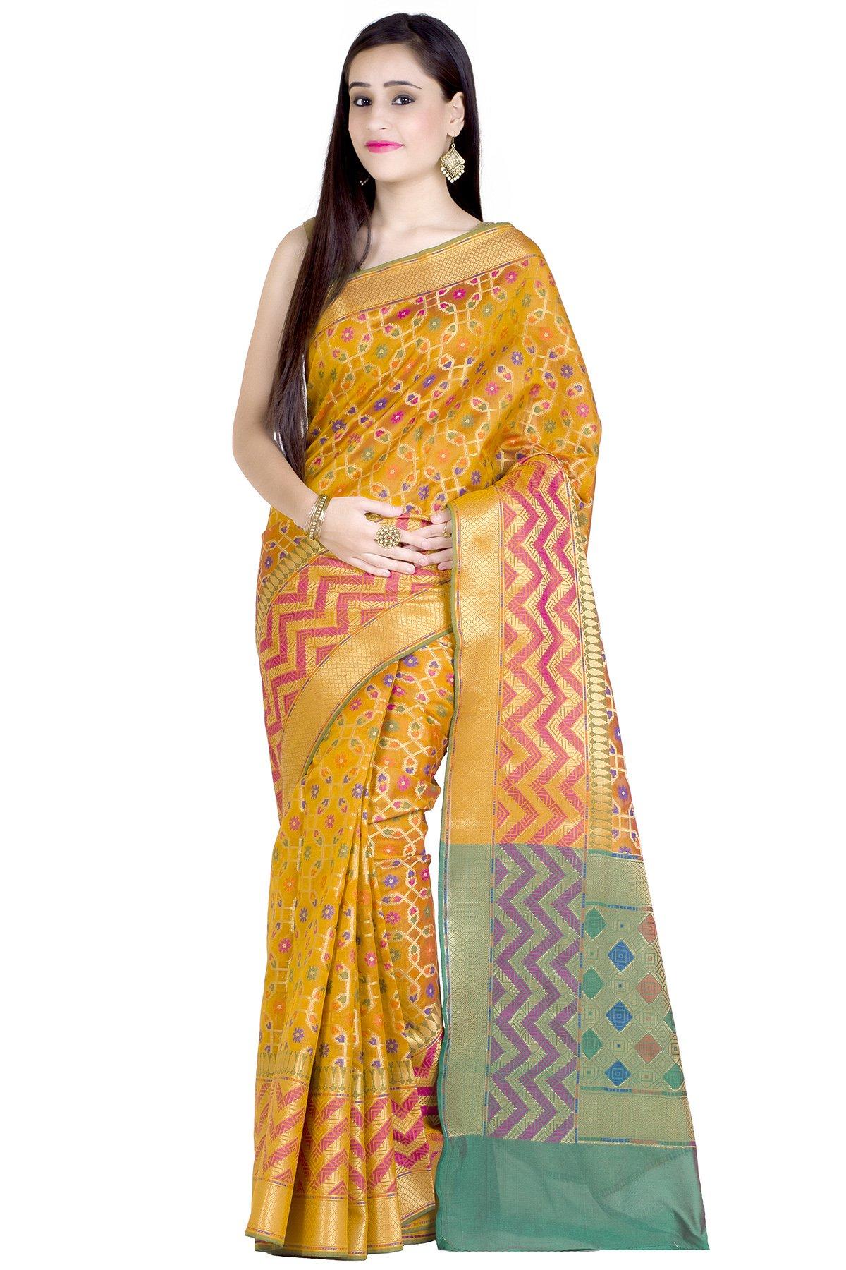 Chandrakala Women's Gold Cotton Silk Banarasi Saree(1242GOL)