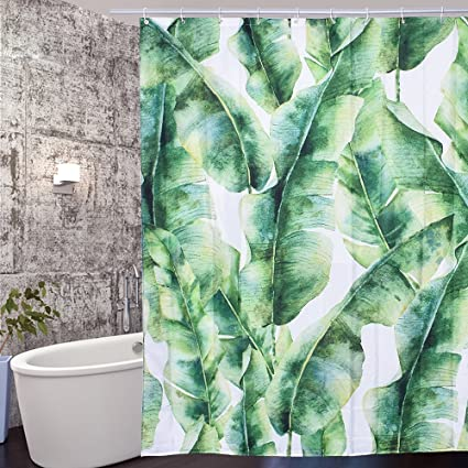 Arfbear Leaves Shower Curtain Liner Tropical Green Banana Cool Design Waterproof Fabric Bathroom