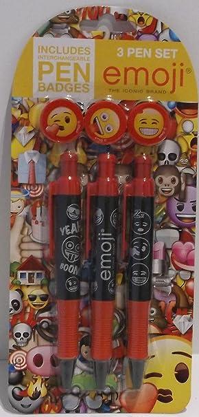 Official Product Emoji 3 Pen Set includes Interchangable Pen Badges