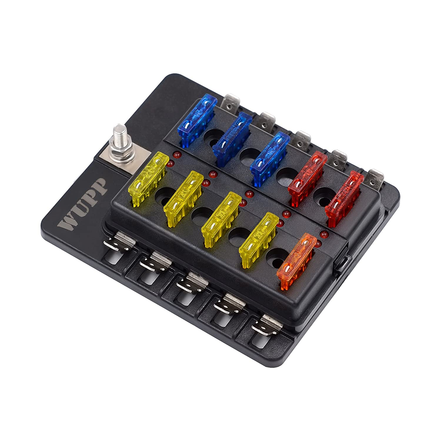 81ANoeiJKEL._SL1500_ amazon com blade fuse box holder with led light waterproof block Waterproof Fuse Holder at creativeand.co