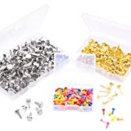 WXJ13 3 Sizes Round Head Paper Fasteners Metal Brads for Office Supplies, DIY Making, 3 Pack (350 Pieces)