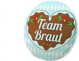 Team Braut Button - Lebkuchenherz Madl Anstecker Bayern JGA Junggesellinnenabschied 3,8 cm