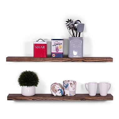 DAKODA LOVE 5.25  Deep Clean Edge Floating Shelves, USA Handmade, Clear Coat Finish, 100% Countersunk Hidden Floating Shelf Brackets, Beautiful Grain Pine Wood Wall Decor (Set of 2) (36 , Espresso)
