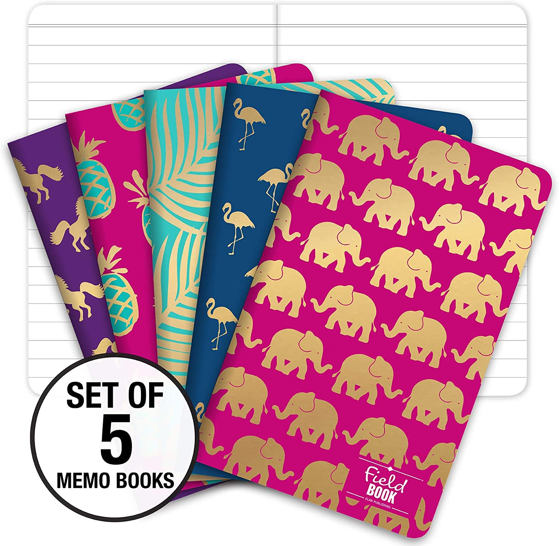 Field Notebook/Journal - Gold Foil Patterns - Lined Memo Book (5
