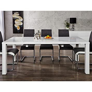 Moderner Esstisch Malmö 120 200 Cm Weiß Hochglanz