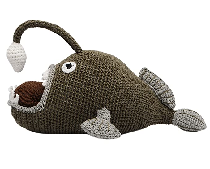 Amazon.com: Beige-Green Angler Fish Handmade Amigurumi Stuffed Toy ...