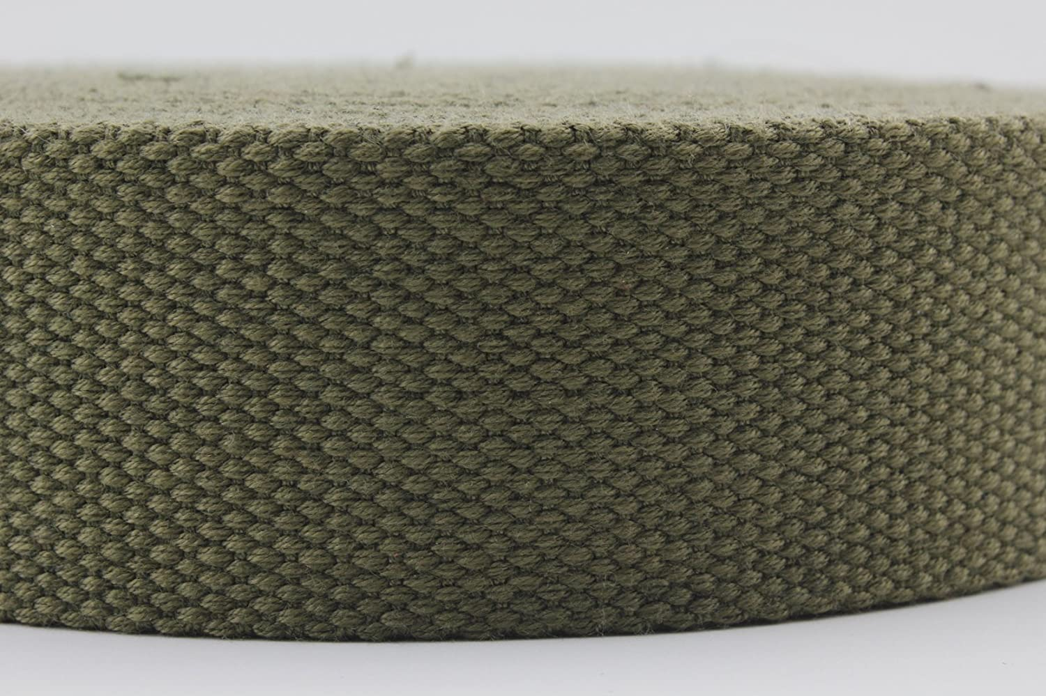 38mm Light Olive Green Heavy Weight Polyester Cotton Webbing Strap 5 Yards ZB12 1.5 inch