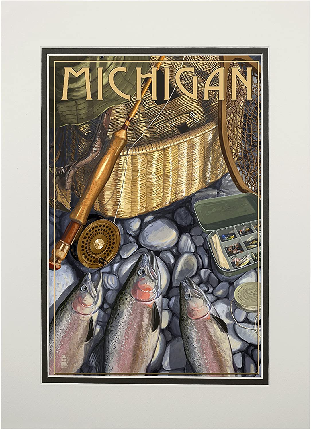 24x36 Giclee Gallery Print, Wall Decor Travel Poster Michigan Fishing Still Life
