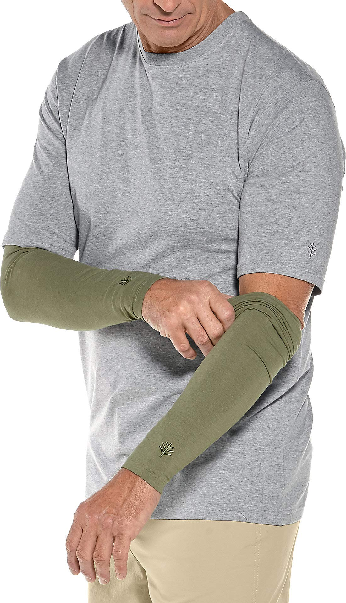 Coolibar UPF 50+ Men's Sun Sleeves - Sun Protective (Large/X-Large- Olive)