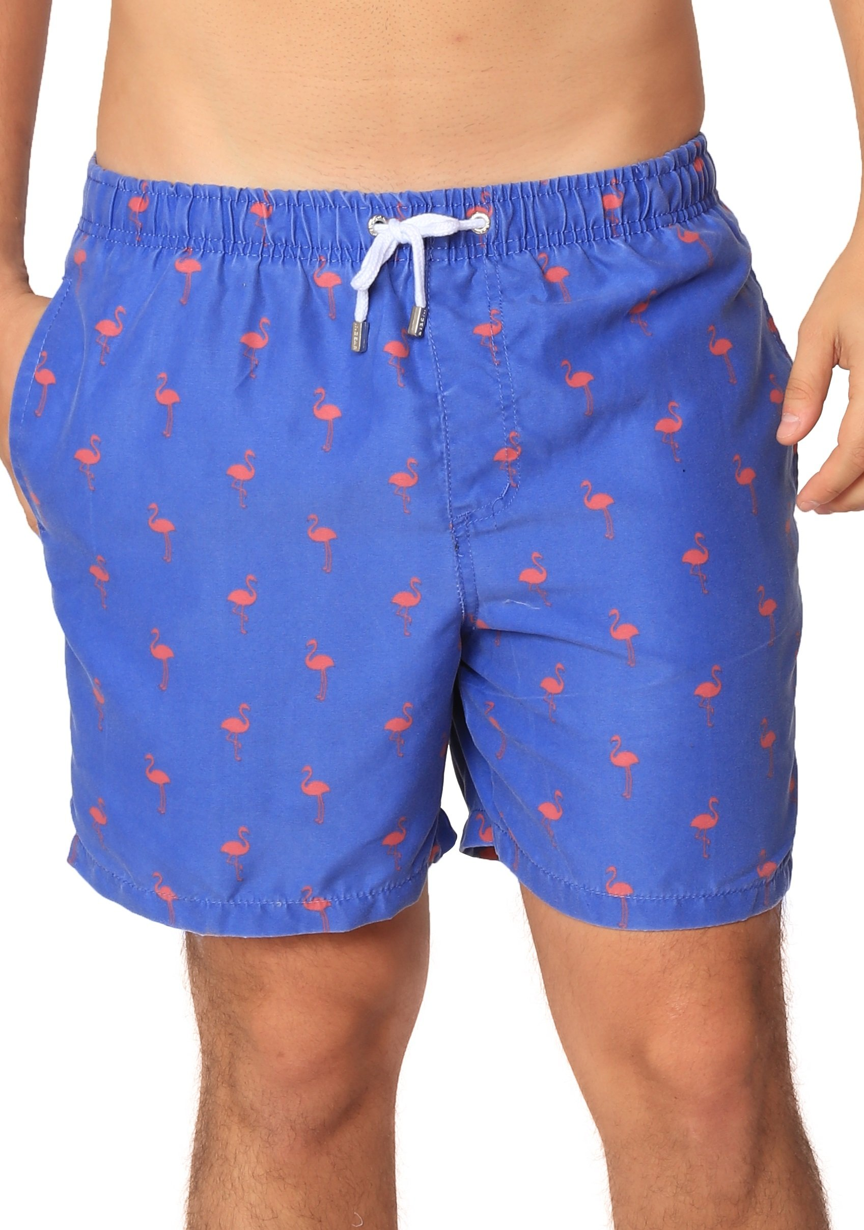 INGEAR Boardshort Swim Trunks Beachwear Summer Surf Printed Casual Water Short (XLarge, Blue Flamingo)
