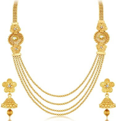 de0947389f2 Buy Aabhu 22Kt Gold Plated 4 Line Strand Necklace Long Chain Jewellery for  Woman and Girl Online at Low Prices in India | Amazon Jewellery Store -  Amazon.in