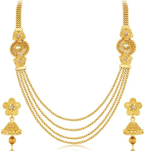Buy Dokari 22kt Gold Plated 4 Line Strand Necklace Long Chain