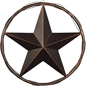 Urbalabs 13 Metal Barn Star Western Decor Cast Wire Rope Circle Ring Rustic Wall Decor Texas Lone Star Bronze Brown Finish Metal Texas Home Wall Decor Indoor Outdoor Western Decor for Home