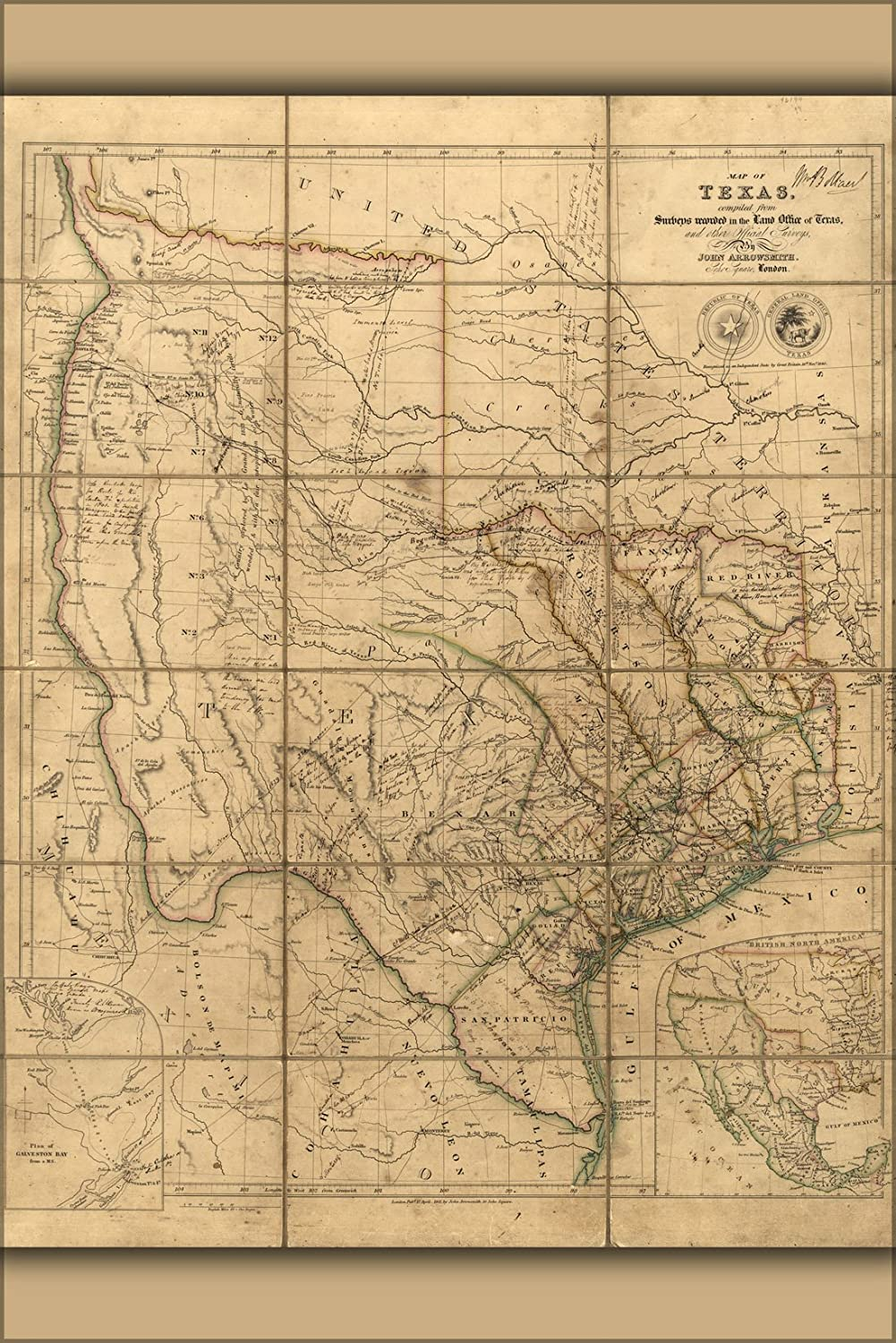 24x36 Poster - 1841 Map Of Texas (reproduction)