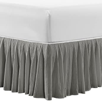 Serenta Melody Coverlet Matching Pleated Bed Skirt, 78 x 80 + 18, King, Gray