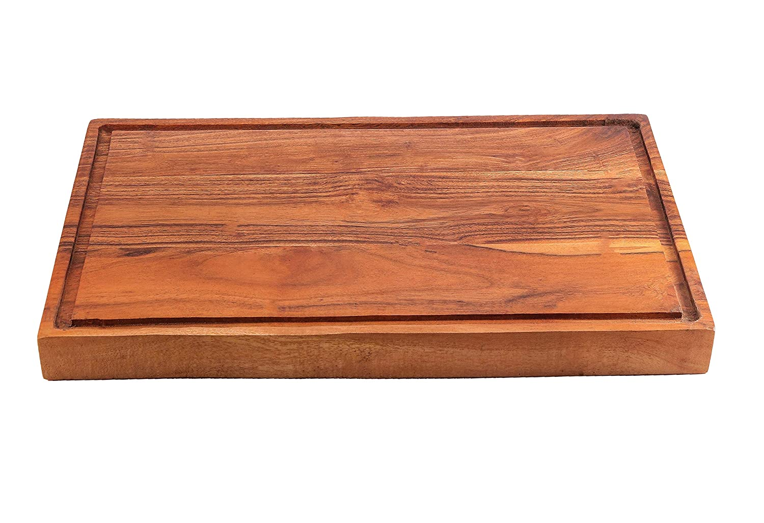 """Large /& Thick Acacia Wood Cutting Board Chopping 17/""""x11/""""x0.75/"""" with Juice Groove"""