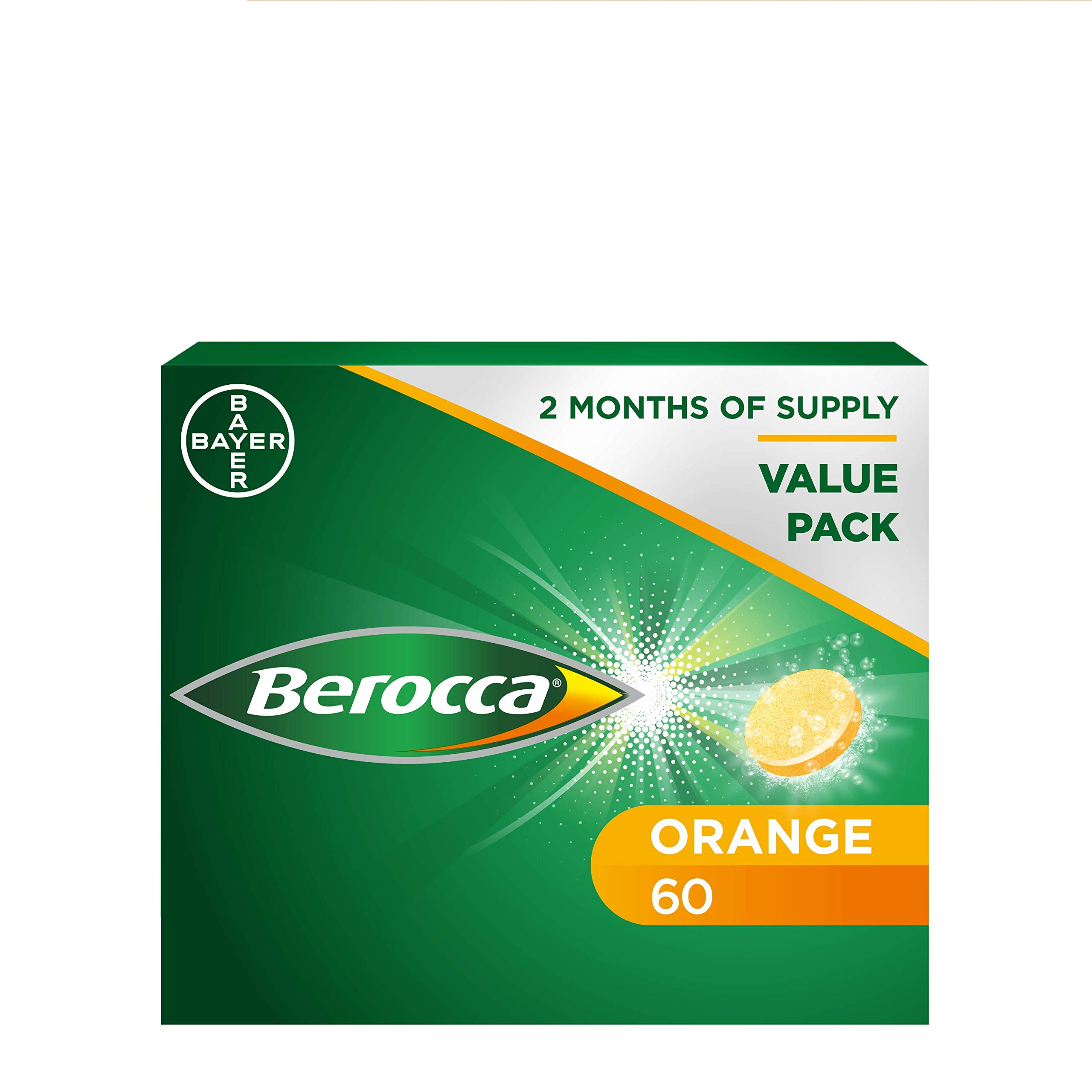 Berocca Energy Vitamin Tablets Orange Flavour, High Dose of Vitamin B Complex, Vitamin B12,60 Tablets (4 x 15)- 2 Months Supply(Packaging may vary)