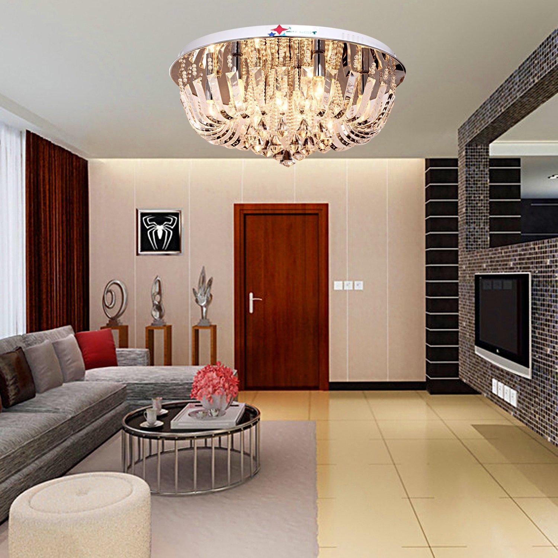 OOFAY LIGHT Runde Kristall Celling Lampe Für Wohnzimmer Lampe, Schlafzimmer  Esszimmer, Arbeitszimmer: Amazon.de: Beleuchtung