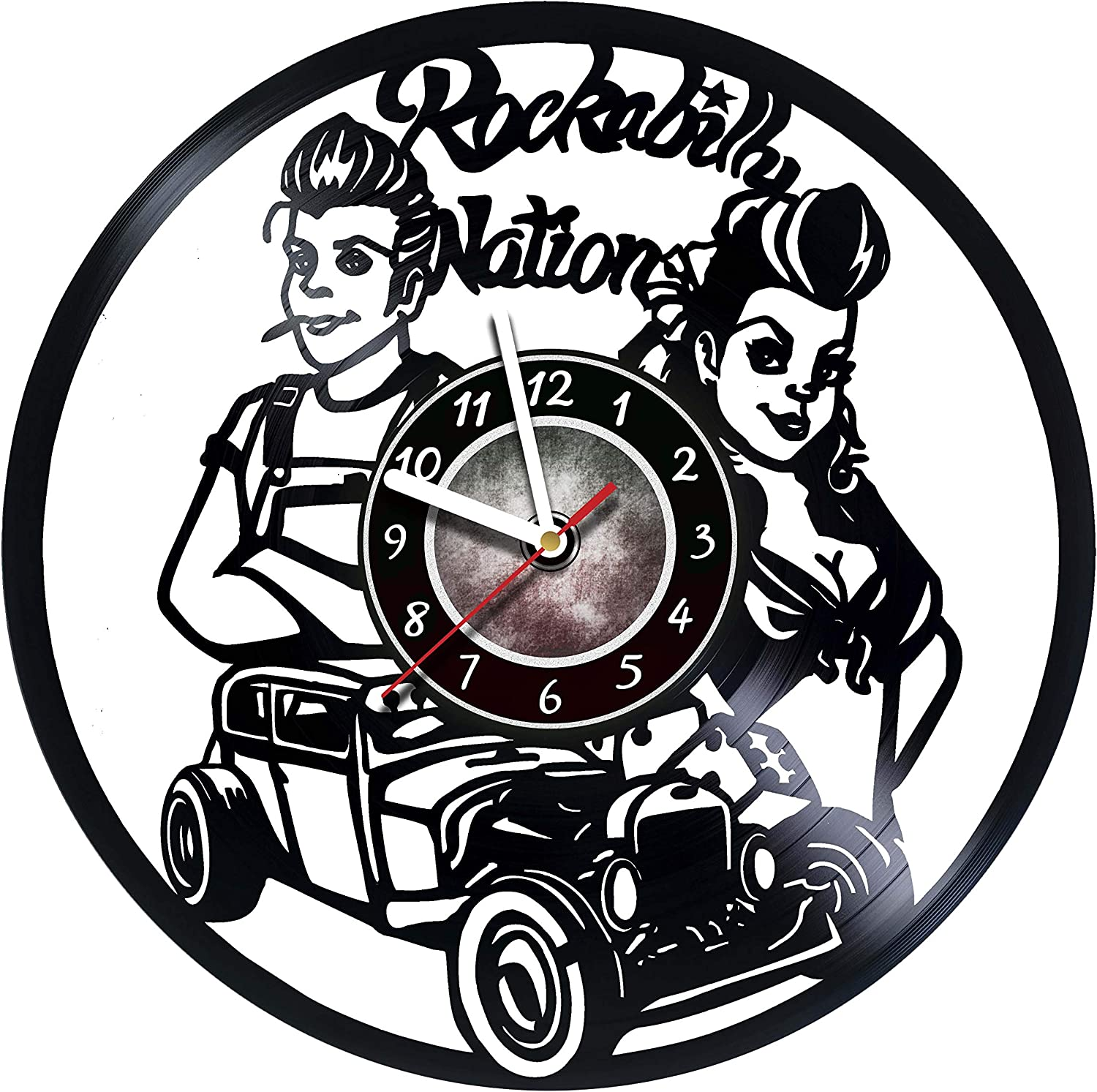 AMARAroom Rockabilly Nation - Wall Clock Made of Vinyl Record - Original Decor - Unique Design - Incredible Gift Idea for Christmas Birthday Anniversary Women Men Boyfriend Girlfriend Teens Friends