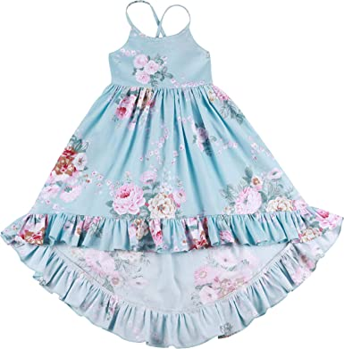 Somlatrecy Vintage Floral Girls Dress Summer Casual Cotton Baby Dress for 1-12 Years