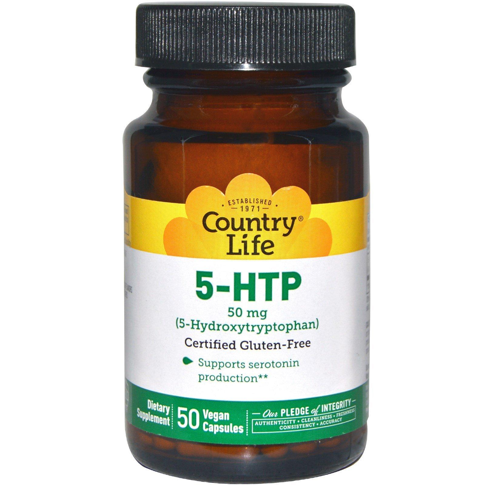 Country Life, 5-HTP, 50 mg, 50 Vegan Caps - 3PC