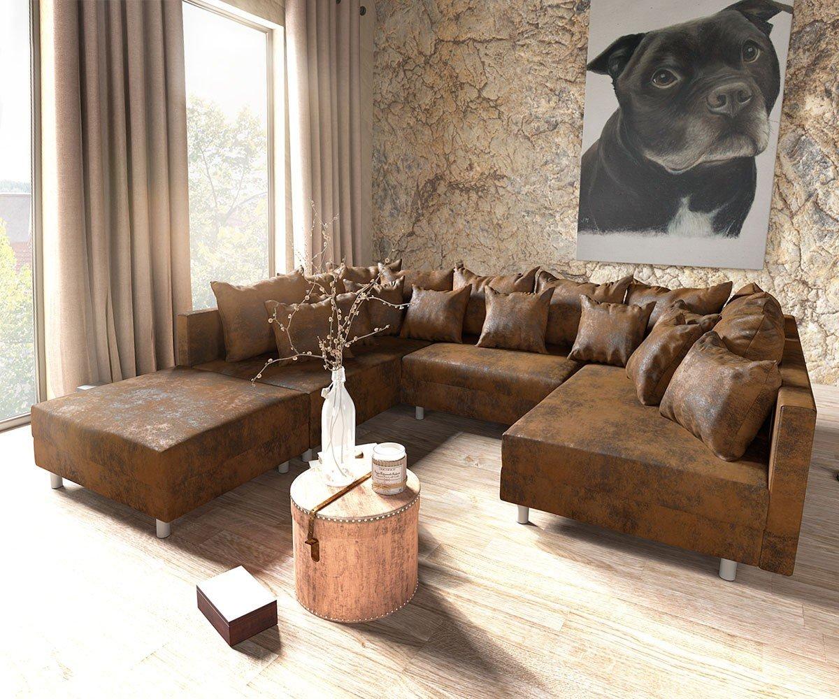 Couch Clovis XXL Braun 300x185 Hocker Kissen Wohnlandschaft