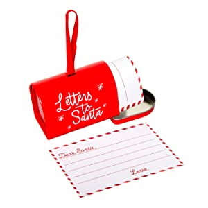 Pearhead Letters to Santa Stationery and Mailbox Ornament Set, Family Christmas Traditions, Red