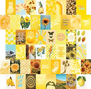 Artivo Yellow Wall Collage Kit Aesthetic Pictures 50 Set, Room Decor for Teen Girls, College Dorm Wall Decor, Photo Collection