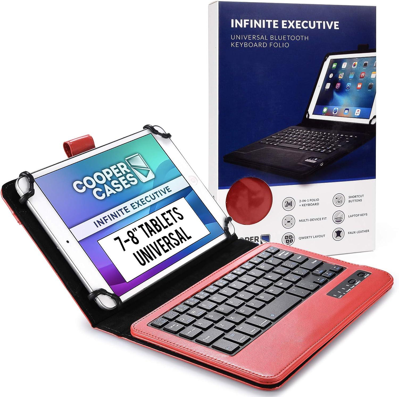 Cooper Infinite Ejecutivo Funda con Teclado para Tableta de 7 a 8 Pulgada | Universal | 2-in-1 Bluetooth Wireless Keyboard e Foglio Case Cover (Roju)