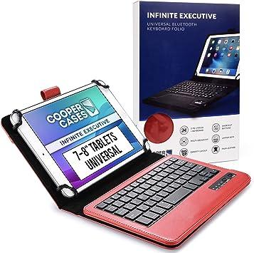 Cooper Infinite Ejecutivo Funda con Teclado para Tableta de 7 a 8 Pulgada   Universal   2-in-1 Bluetooth Wireless Keyboard e Foglio Case Cover (Roju)