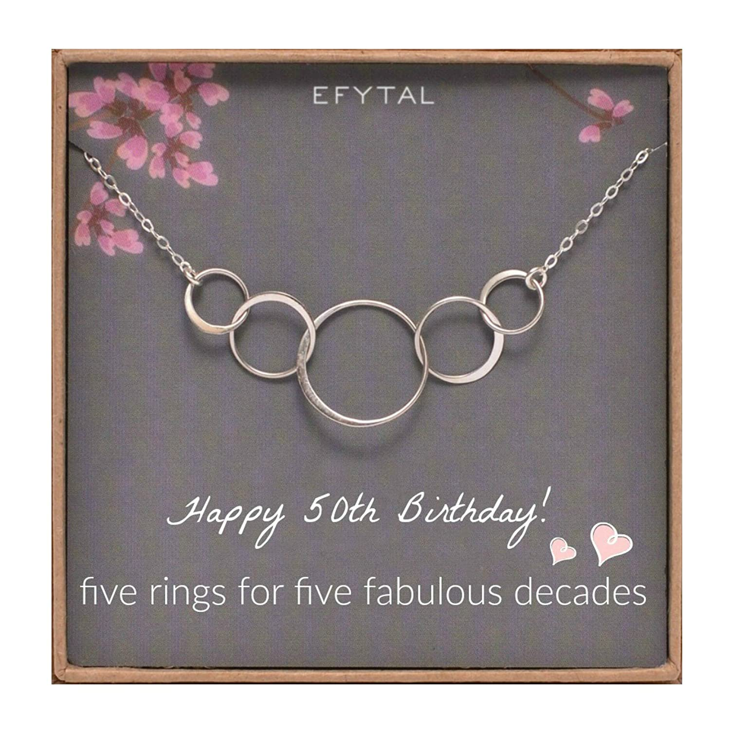 Amazon EFYTAL 50th Birthday Gifts For Women Sterling Silver Five Circle Necklace Her 5 Decade Jewelry 50 Years Old