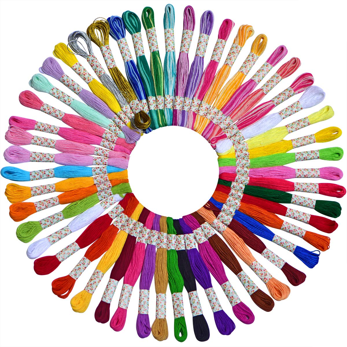 LE PAON 48 Pack Embroidery Floss Cross Stitch Thread 100%Long-StapleCotton Friendship Bracelet Craft Strings Contains12 Skeins Variegated Embroidery Floss and 2skeins Metallic Embroidery Floss cq