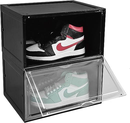 BYFU 2 Pack Shoe Storage Box Side Open