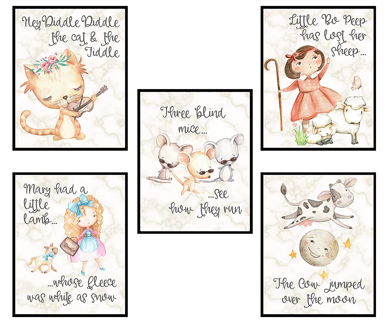 Nursery Rhyme Baby Set Wall Art Baby Shower Gift Decor (Cloud Set Art Prints)