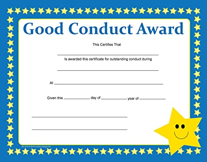 Amazon.com : Good Conduct Recognition Certificate : Office Products