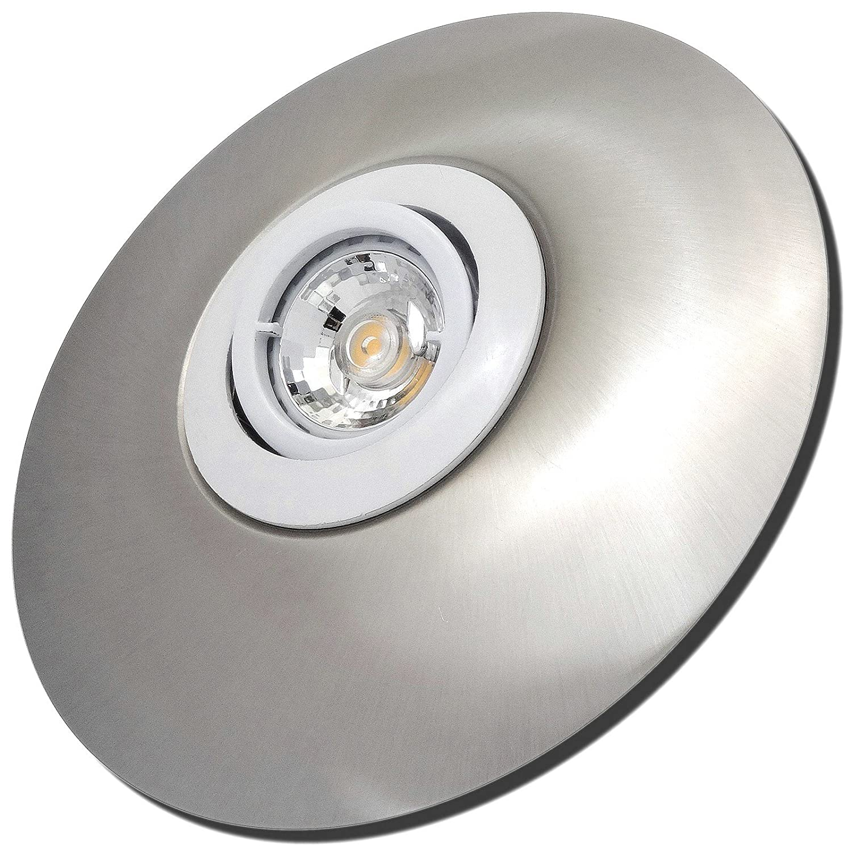 6 Stück MCOB LED Einbaustrahler Big Laura 12 Volt 5 Watt Schwenkbar inkl. Trafo Weiß + Edelstahl geb. / Warmweiß