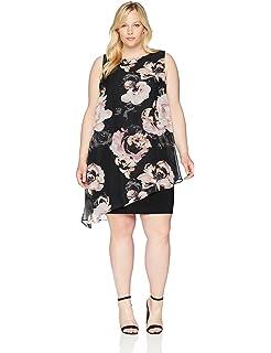 S.L. Fashions Womens Plus Size Sleeveless Print Asymmetric Chiffon Overlay Dress Special Occasion