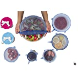 Silicone Stretch Lids (6+2 Pack) Food Covers - Includes 2 Cup Lid - Reusable, Durable and Expandable to Fit Various Shapes and Sizes – Dishwasher, Microwave, Oven and Freezer Safe