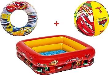 JOVAL® -Pack Piscina refrescante Infantil Cars, de 85x85x25 centímetros, con Flotador y Pelota Incluido. con Colores Vibrantes para Jardin terraza o casa: Amazon.es: Juguetes y juegos