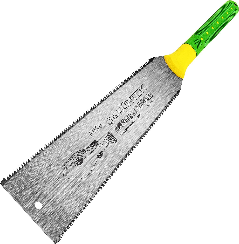 GRÜNTEK Sierra Japonesa FUGU Ryoba 300 mm para corte fino y doble. Hoja dentada en ambos lados. Serrucho de mano para madera.