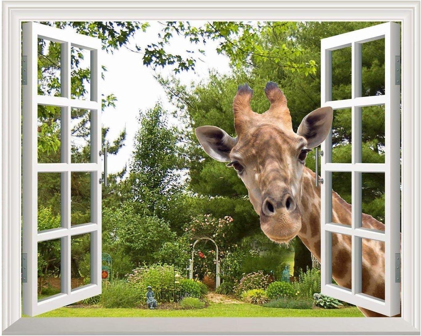 "Wall26 Creative Wall Sticker Removable Wall Art Wall Decal - A Curious Giraffe Sticking Its Head into an Open Window | Cute & Funny Wall Mural - 24""x32"""