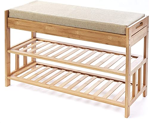 The Lakeside Collection Bamboo Entryway Bench with Shoe Rack and 2-Drawer Seat Storage