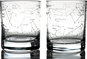 Greenline Goods Whiskey Glasses – Northern Summer Sky & Constellations (Set of 2) – Etched 10 Oz Tumbler Gift Set - Old Fashioned Rocks Wisky Glass