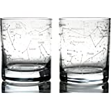 Greenline Goods Whiskey Glasses – Northern Summer Sky & Constellations (Set of 2) – Etched 10 Oz Tumbler Gift Set - Old…