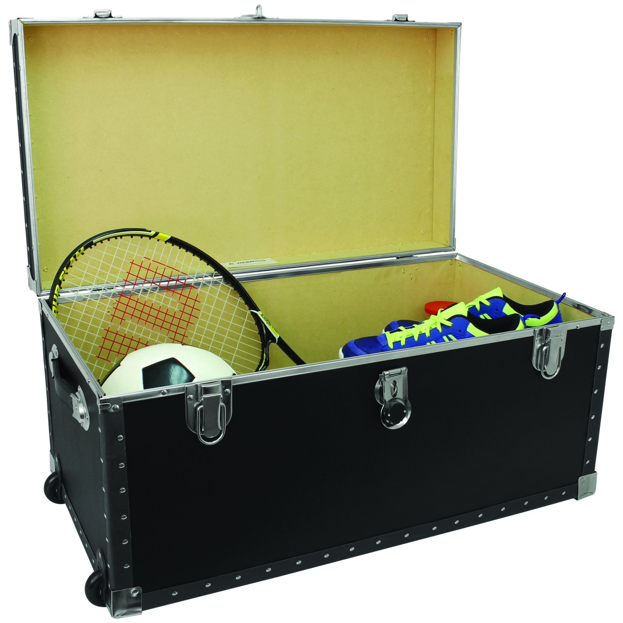Footlocker Trunk with Wheels, 31'' Black Durable Wood Construction Nickel Trim Ideal for The College Student or Homeowner Add Extra Space and Provide an Attractive Piece of Furniture to a Room
